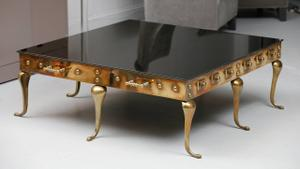 Brass and Black Glass Coffee Table Preview Image 1