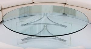 Large Glass, Steel and Lucite Coffee Table Preview Image 1