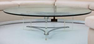 Large Glass, Steel and Lucite Coffee Table Preview Image 2