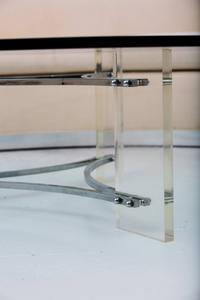 Large Glass, Steel and Lucite Coffee Table Preview Image 3