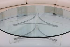 Large Glass, Steel and Lucite Coffee Table Preview Image 5