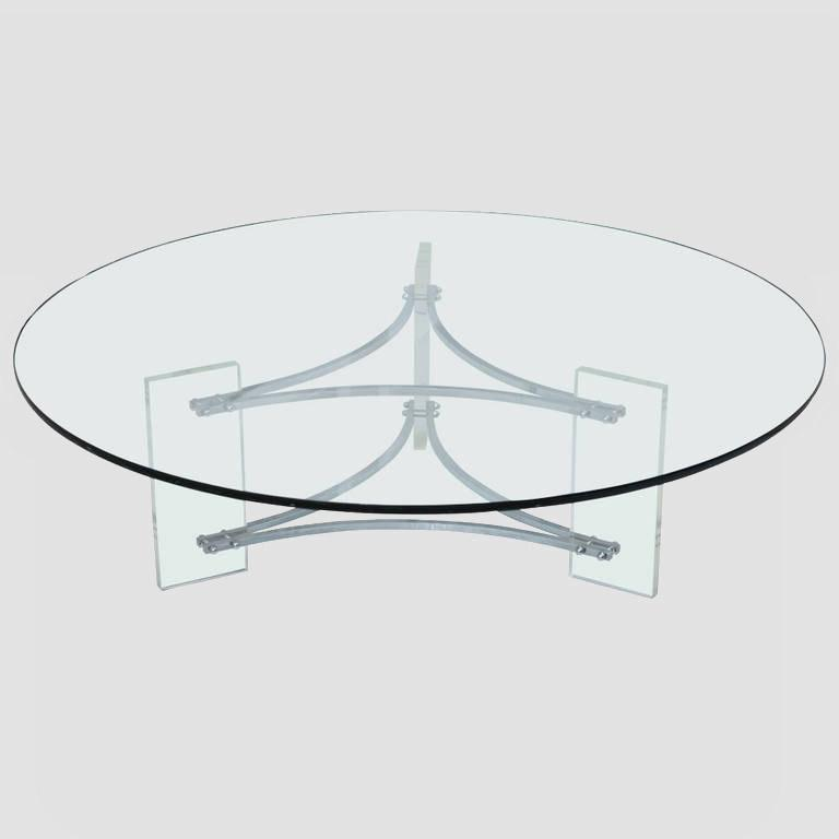 Large Glass, Steel and Lucite Coffee Table Main Image