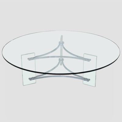 Large Glass, Steel and Lucite Coffee Table Preview