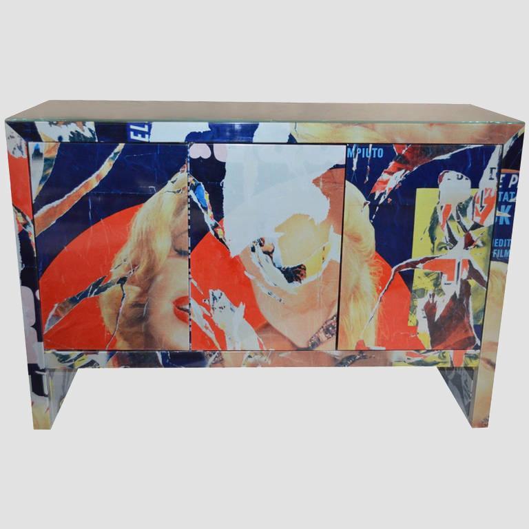 "Mimmo Rotella Art Cabinet ""Marylin Monroe"" Main Image"