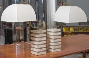 Italian Travertine  and Brass Table Lamps Preview Image 1