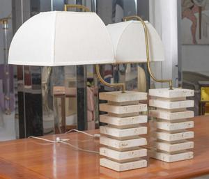 Italian Travertine  and Brass Table Lamps Preview Image 2
