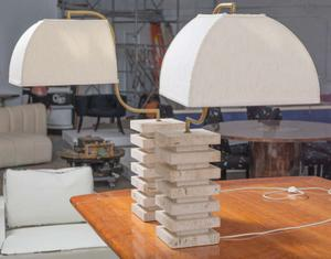 Italian Travertine  and Brass Table Lamps Preview Image 3