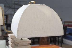 Italian Travertine  and Brass Table Lamps Preview Image 6