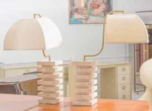 Italian Travertine  and Brass Table Lamps Preview Image 7