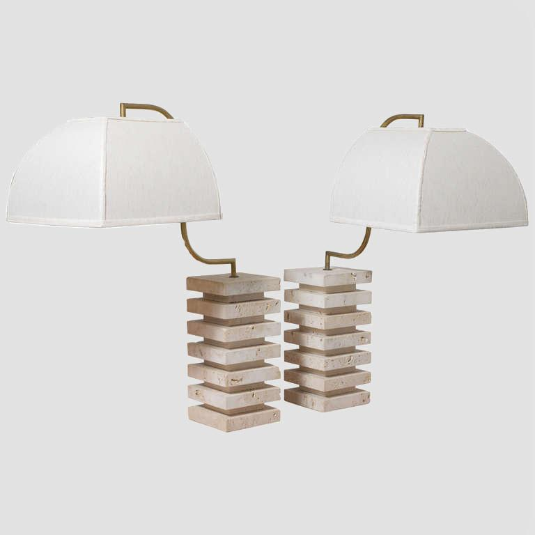 Italian Travertine  and Brass Table Lamps Main Image