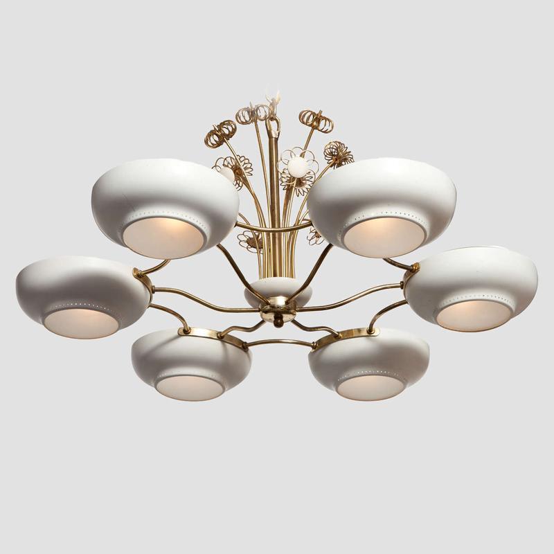 Lightholier Six Lights Brass and Enameled Metal Chandelier Main Image