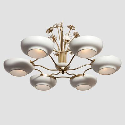 Lightholier Six Lights Brass and Enameled Metal Chandelier Preview