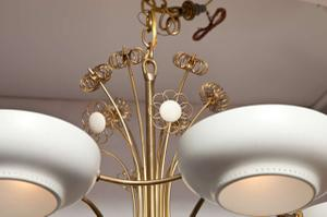 Lightholier Six Lights Brass and Enameled Metal Chandelier Preview Image 2