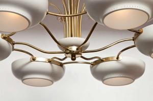 Lightholier Six Lights Brass and Enameled Metal Chandelier Preview Image 3