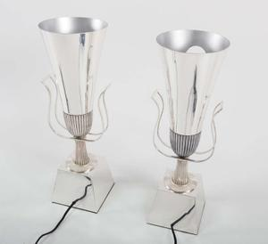 Tommi Parzinger 1950's Silver Urn Lamps Preview Image 2