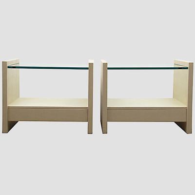 "Karl Springer ""Solid Side"" Leather Tables Preview"