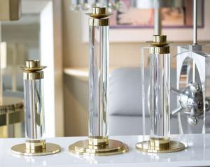 Set of Lucite and Brass Candleholders Preview Image 1