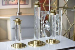 Set of Lucite and Brass Candleholders Preview Image 2
