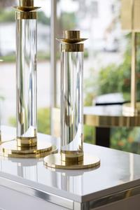Set of Lucite and Brass Candleholders Preview Image 3