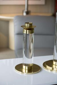Set of Lucite and Brass Candleholders Preview Image 4