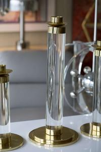 Set of Lucite and Brass Candleholders Preview Image 5