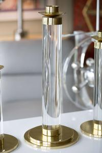 Set of Lucite and Brass Candleholders Preview Image 6