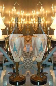 50's Glass and Brass Table Lamps Preview Image 1
