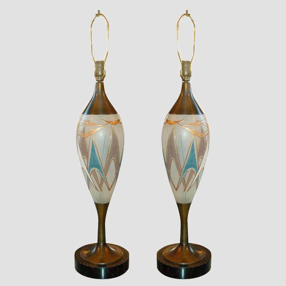50's Glass and Brass Table Lamps Main Image