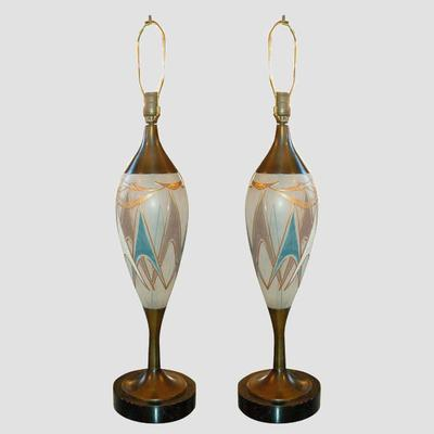 50's Glass and Brass Table Lamps Preview
