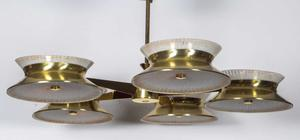 Five Arm Brass Chandelier by Lightolier Preview Image 2