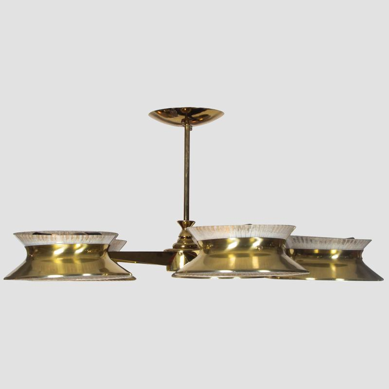 Five Arm Brass Chandelier by Lightolier Main Image