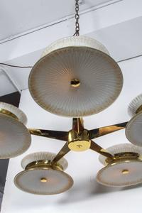 Five Arm Brass Chandelier by Lightolier Preview Image 3