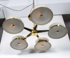 Five Arm Brass Chandelier by Lightolier Preview Image 4