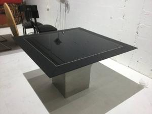 Steel and Glass Square Dining Room Table Preview Image 1