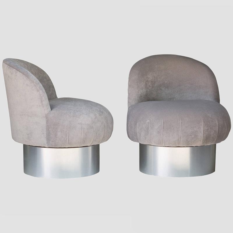 Milo Baughman Swivel Pouf Chairs Main Image