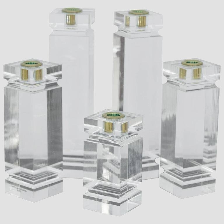 1970s Solid Lucite Candleholders Main Image