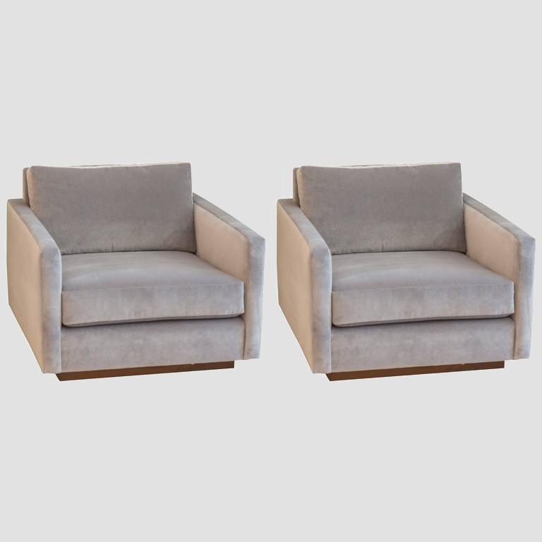 Harvey Probber Velvet Cube Chairs Main Image