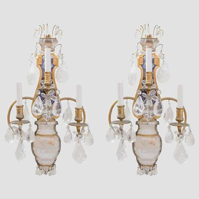 E.F.Caldwell Grand Rock Crystal Sconces Preview